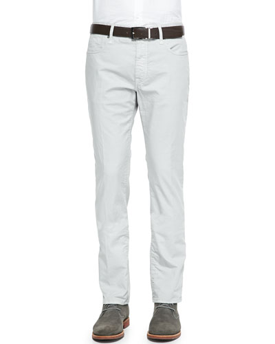 Washed  5-Pocket Cotton Stretch Pants, Stonewash