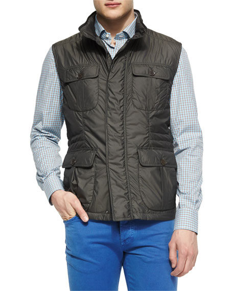 Isaia Nylon Safari Vest, Brown