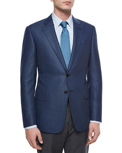 G-Line Birdseye Two-Button Jacket, Bright Blue
