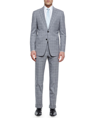 G-Line Windowpane Suit, Light Gray/White