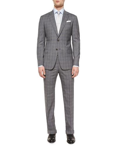 G-Line Plaid Two-Piece Suit, Gray/Blue