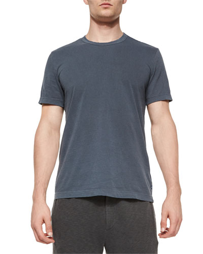 Short-Sleeve Crewneck Jersey Tee, Navy