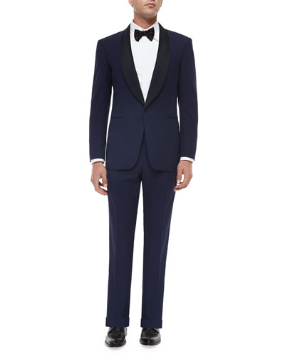 Anthony Shawl-Collar Wool Tuxedo, Navy