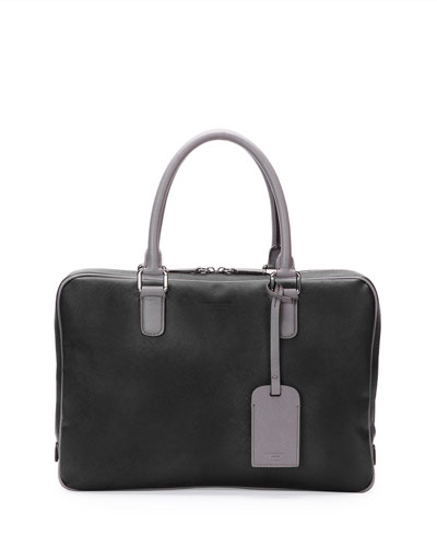 Leather Zip Computer Case, Black