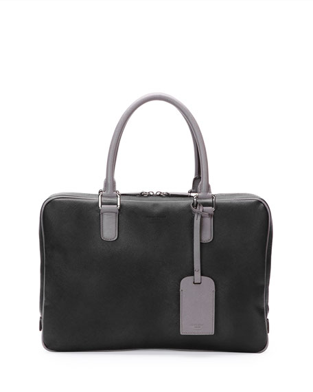 Giorgio Armani Leather Zip Computer Case, Black