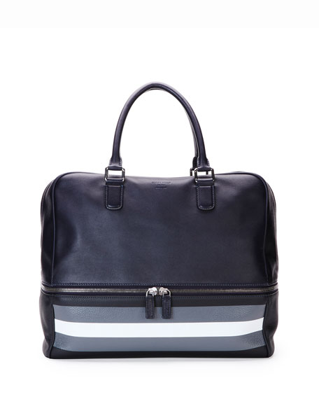 Giorgio Armani Leather Bowler Bag with Contrast Stripes