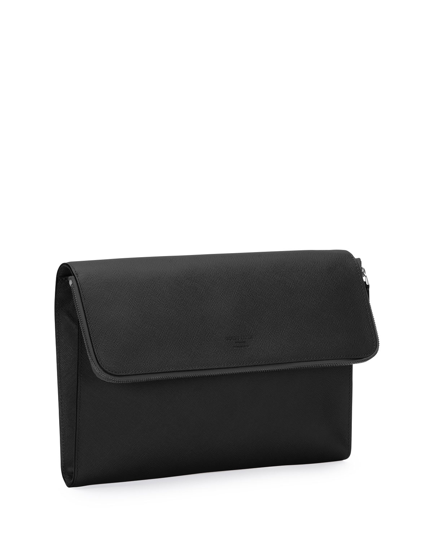 Giorgio Armani Leather Portfolio Case, Black | Neiman Marcus