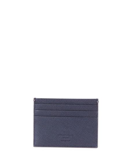 Giorgio Armani Crosshatch Leather Credit Card Case, Blue