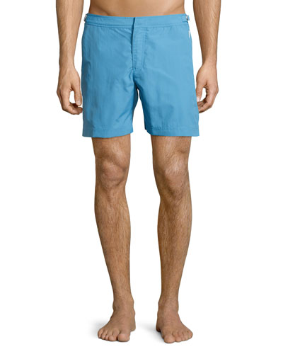 Bulldog Mid-Length Swim Trunks, Surf Blue
