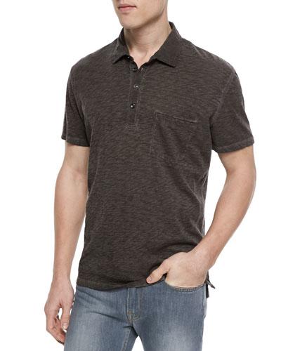 Raw Placket Short-Sleeve Polo Shirt, Gray