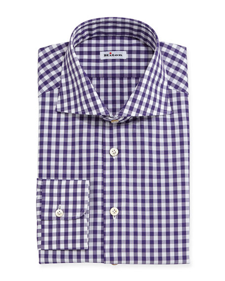Kiton Gingham Check Dress Shirt Purple White Neiman Marcus