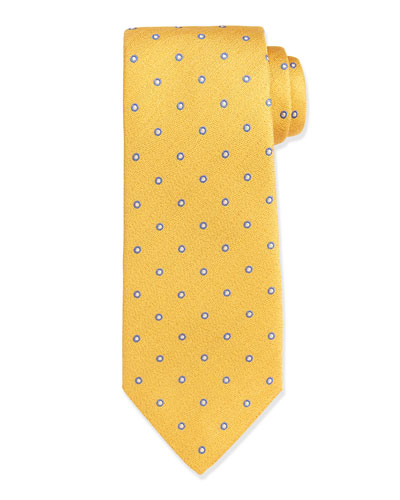 Circle-Patterned Silk Tie, Gold