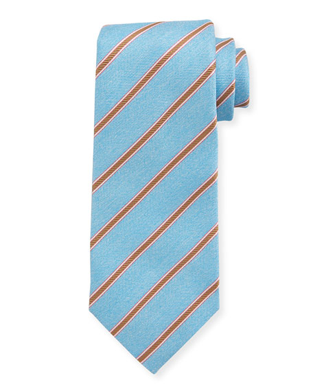 Isaia Herringbone-Striped Tie, Light Blue