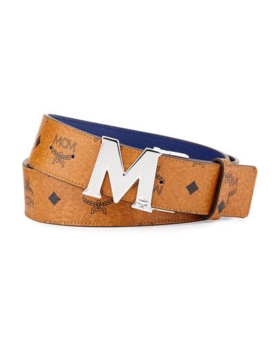 Reversible M-Buckle Monogram Belt, Cognac/Blue