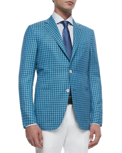Check Wool-Silk Two-Button Jacket, Blue