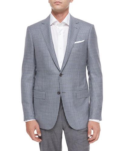 Mini-Check Two-Button Wool Jacket, Gray/Blue