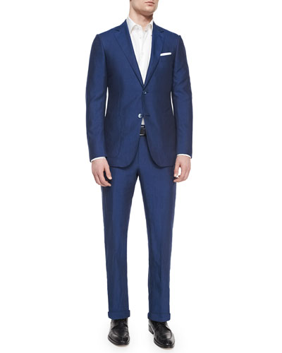 Silk/Linen Solid Two-Piece Suit, Blue