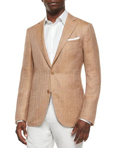 Herringbone Two-Button Wool Jacket, Tan