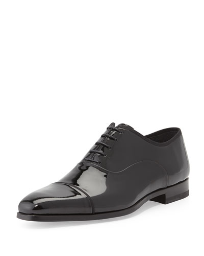 Patent Leather Cap-Toe Oxford, Black