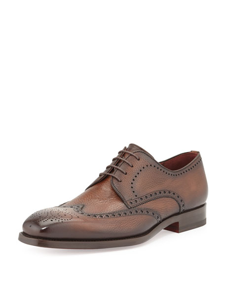 Magnanni for Neiman Marcus Pebbled Leather Wing-Tip, Brown