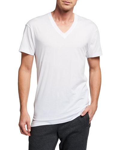 Pima Cotton V-Neck T-Shirt  White