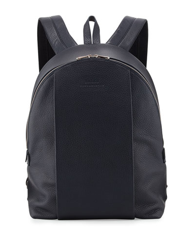 Solid Calf Leather Backpack, Navy