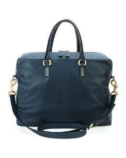 Leather Soft Briefcase with Oversized Zipper