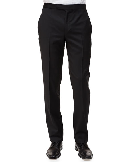 Satin-Taped Formal Wool Trousers, Black