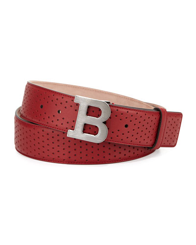 Perforated B-Buckle Belt, Red