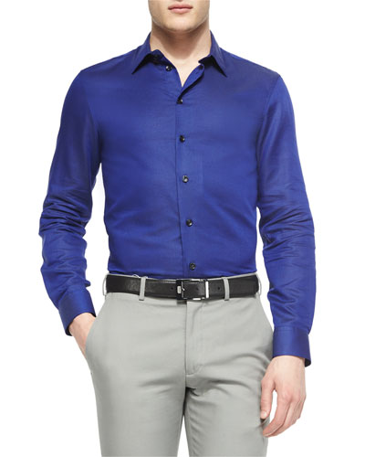 Tonal-Dot Woven Sport Shirt, Bright Blue