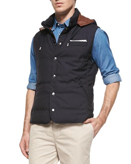 Brunello Cucinelli Wool-Blend Flamed Blazer & Wool Hooded