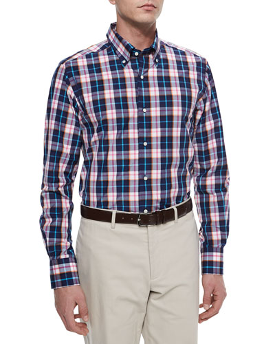 Long-Sleeve Plaid Sport Shirt, Blue/Pink/Orange/White