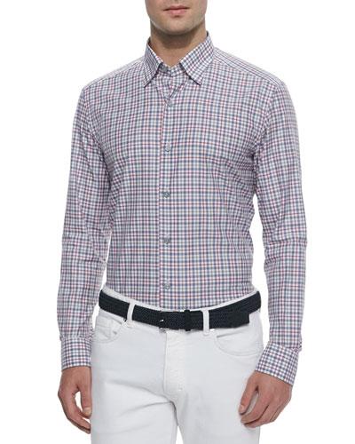 Long-Sleeve Check Sport Shirt, Blue/Khaki/Raspberry