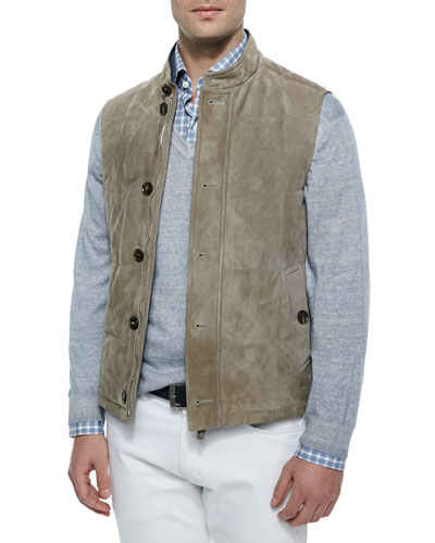 Quilted Suede Stand-Collar Vest