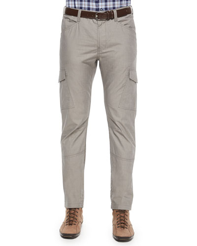 Yarn-Dyed Cotton Cargo Pants, Khaki