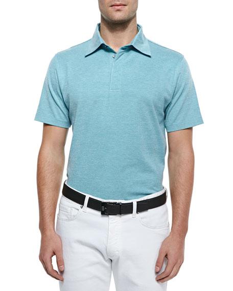 Ermenegildo Zegna Spread Collar Polo Shirt, Turquoise