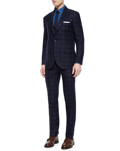 Madras Plaid Two-Piece Suit, Navy