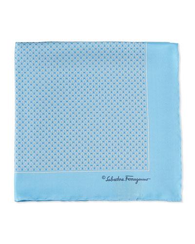 Gancini Print Pocket Square, Aqua