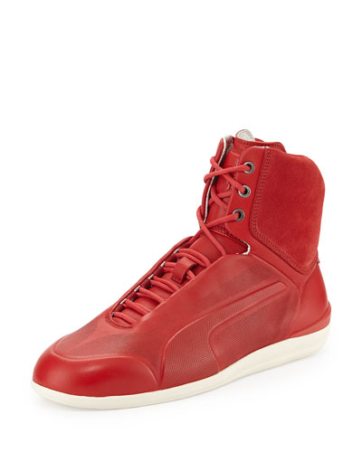 Ferrari Suede High-Top Sneaker, Red