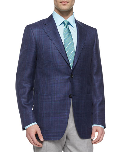 Two-Button Plaid Sport Coat, Navy/Green