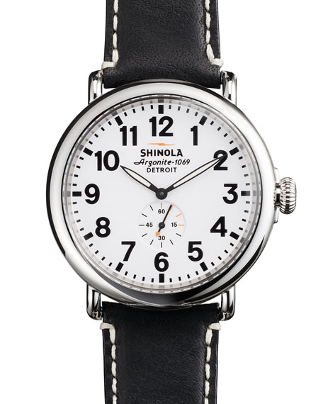 Shinola 47mm Runwell Men's Watch, White/Black