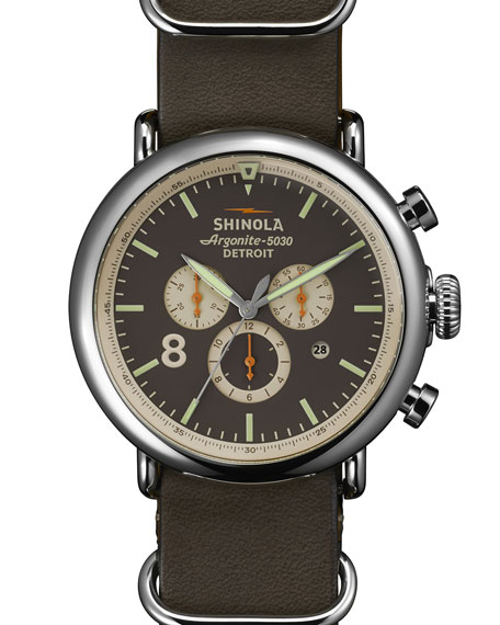 Shinola 47mm Runwell Chrono Leather Watch, Gray
