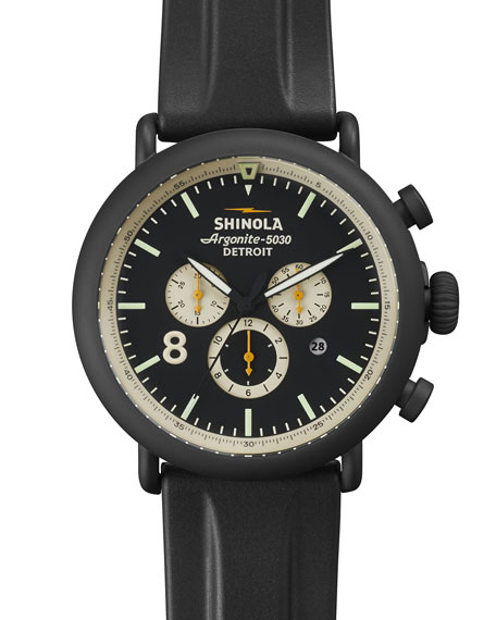 Shinola 47mm Runwell Chronograph Watch, Black