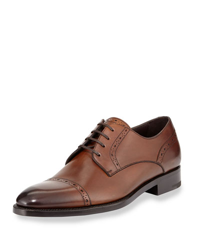 Cap-Toe Derby Shoe, Brown