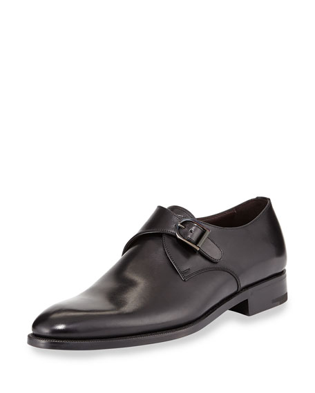 Ermenegildo Zegna Single Monk Strap Shoe, Black