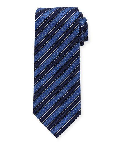 Texture-Stripe Tie, Navy