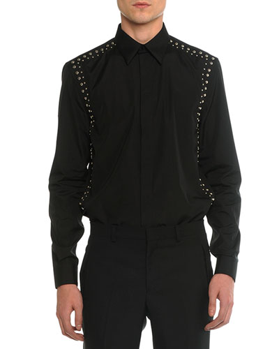 Studded Harness Long-Sleeve Shirt, Black
