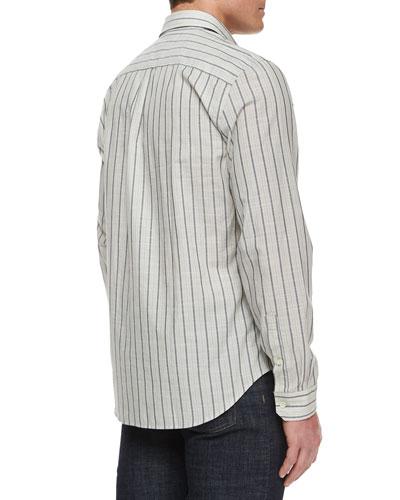Striped Long-Sleeve Sport Shirt, White/Black