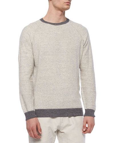 Cotton/Merino Raglan Crewneck Sweater, Dark Gray