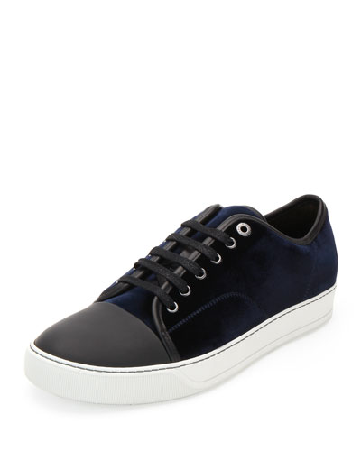 Velvet Captoe Low-Top Shoe, Blue